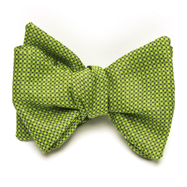 Green Tonal Check handmade with adjustable neck with mother of pearls buttons Fabric: 100% Italian Silk Size: 2 3/4