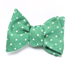 Mint Green & White Polka Dot handmade comes pre-tied with adjustable neck with mother of pearls buttons  Fabric: 100% Italian Silk  Size: 2 3/4